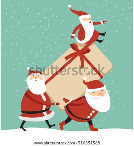 Three Santas with huge gift box cartoon illustration