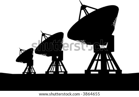 Three satelite dishes over sunset - stock vector