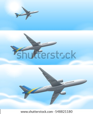 Three scenes of airplane flying in sky illustration