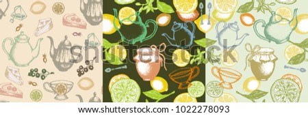 Three seamless pattern tea vintage retro background