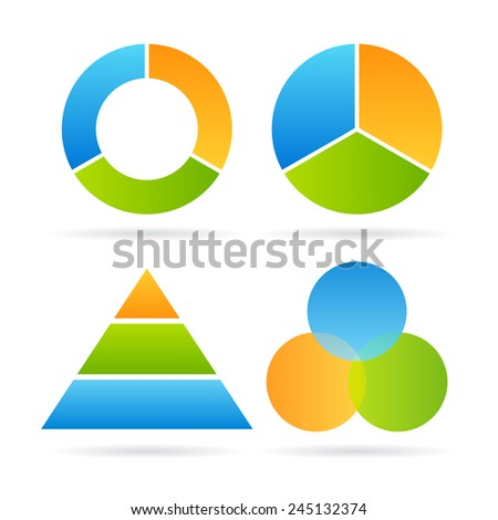 Three segment diagram - stock vector