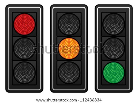 Three sets of LED traffic lights showing red, amber or green lights. - stock vector