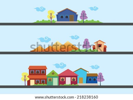 Three sets of vector illustration of simple houses and colorful landscape.  - stock vector