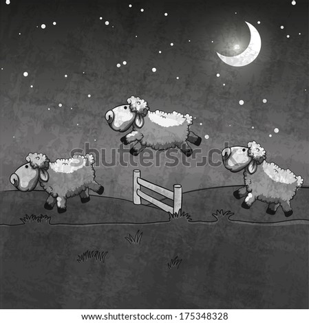 Three sheep  jumping over the fence. Count them to sleep. - stock vector