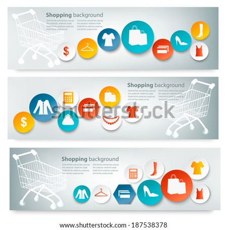 Three Shopping banners with colorful icons. Vector. - stock vector