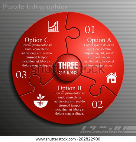 Three sided 3d puzzle presentation infographic template with explanatory text field for business statistics - stock vector