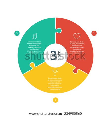 Three sided, numbered flat rainbow spectrum colored puzzle presentation infographic chart with explanatory text field isolated on white background. Vector graphic template. - stock vector