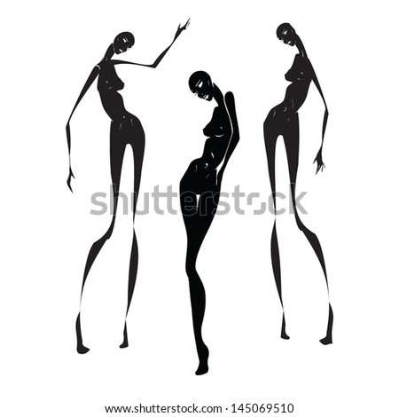 three silhouette - stock vector