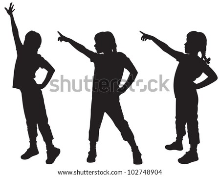 Three silhouettes of girls - stock vector