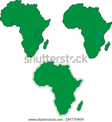 Three simple Africa outline maps. Set of vector illustrations. - stock vector