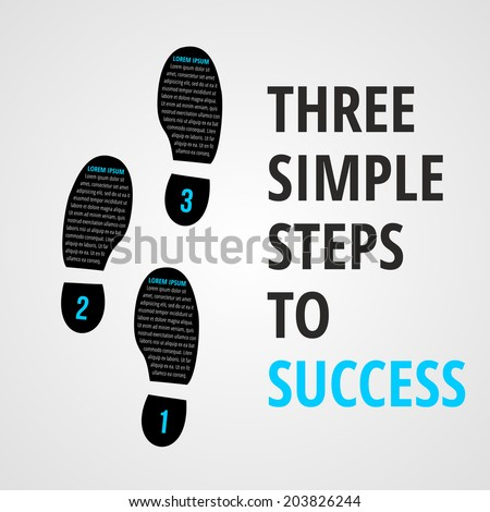 Three simple foot steps to success concept for layout, brochure,web design or presentation in vector. - stock vector