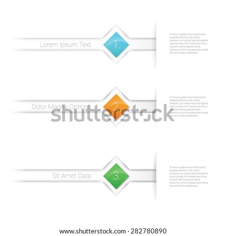Three Simple Squares Infographics for Web Or Print Advertisement Design Elements. Scalable Eps10 Vector Illustration - stock vector