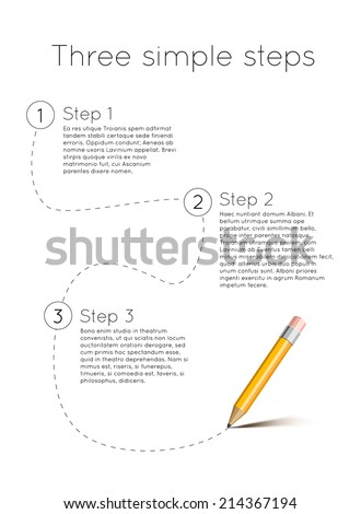 three simple steps template with pencil isolated on white - stock vector