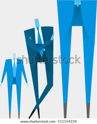 Three sizes of businessmen - stock vector