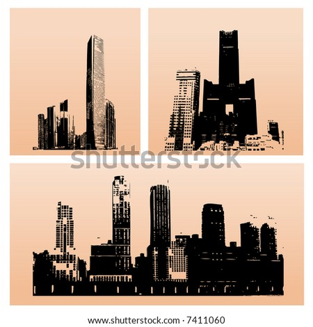 Three skyscrapers silhouette against gradient background (vector, illustration) - stock vector