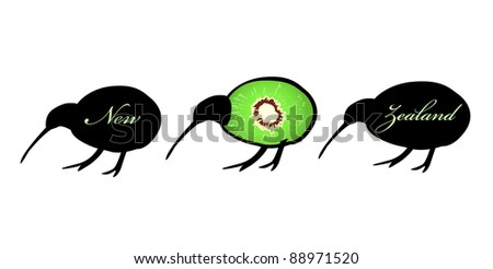 Three small kiwi birds in a line, one with kiwi fruit forming his flightless body, symbol of New Zealand - stock vector