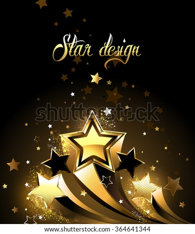 Three sparkling, golden comet on a black background - stock vector