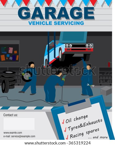 Three specialist mechanics to repair a sports car in the garage. good to use this illustration to advertise Automotive Service. vector illustration - stock vector