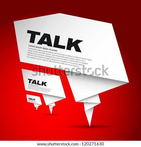 Three speech bubble made from paper - with place for text - stock vector