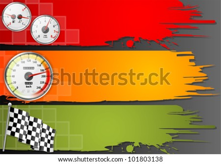 Three Speed Frame with Detailed Car Speedometer, Tachometer, Fuel and Temperature Gauges and Flag, vector - stock vector