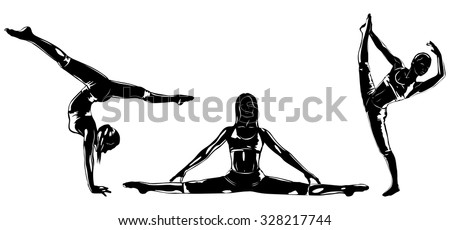 Three sports women silhouettes on white - stock vector