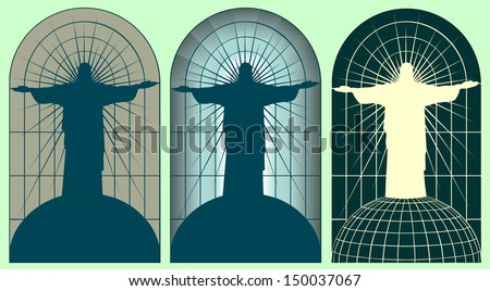 Three stained-glass window with a silhouette of Jesus Christ for the design of Gothic cathedrals and churches.