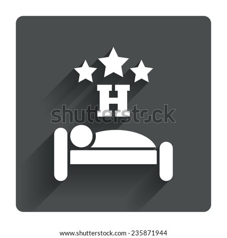 Three star Hotel apartment sign icon. Travel rest place. Sleeper symbol. Gray flat square button with shadow. Modern UI website navigation. Vector - stock vector