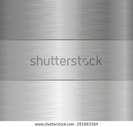 three steel banners with texture - stock vector