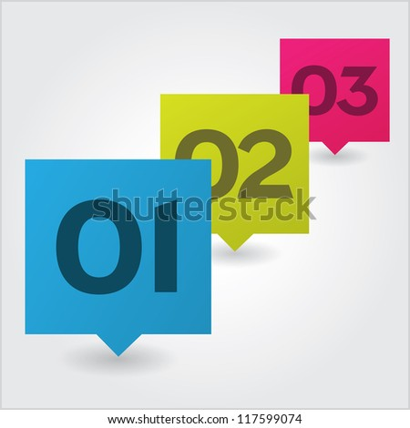 Three step options - stock vector