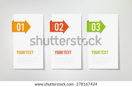 Three steps info graphics. can illustrate a strategy or a workflow. - stock vector