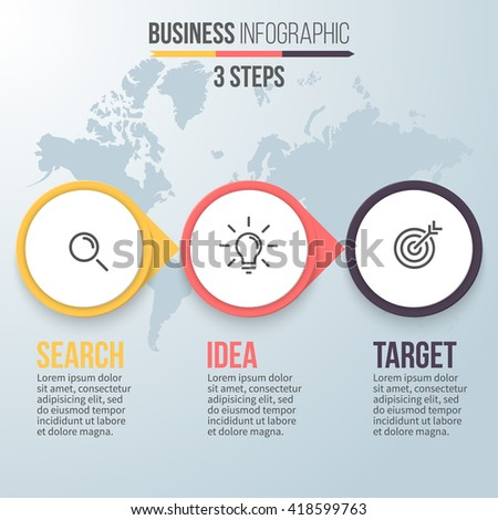 Three Steps Infographics Business Strategy Search Stock ...