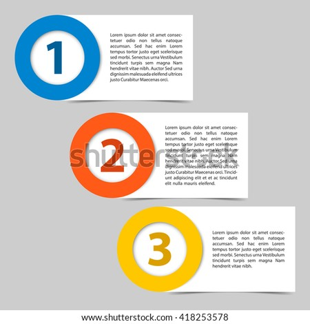 Three steps timeline papers. Vector illustration of three colored cards. Place for customer text inside object.