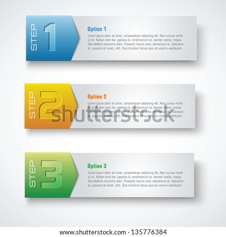 three steps vector template banners - stock vector