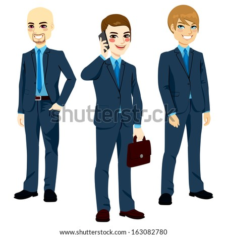 Three successful businessmen wearing blue suits standing in different poses - stock vector