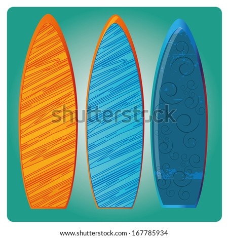 three surfboards with different colors and textures