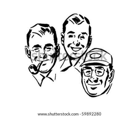 Three Swell Guys - Retro Clip Art - stock vector