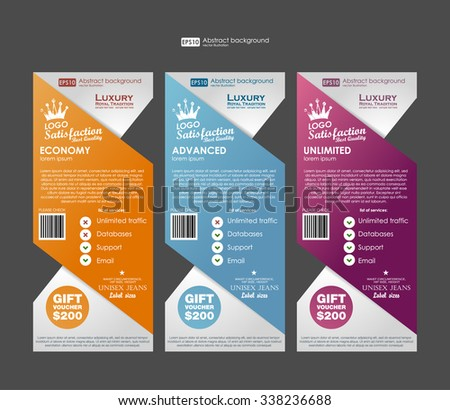 Three tariffs banners for web app. Price , banner, order, box, button, list and bullet with plan for website. Template prices banners. - stock vector