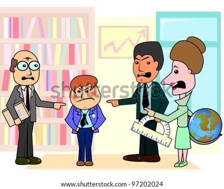 Three teachers and bad student - stock vector
