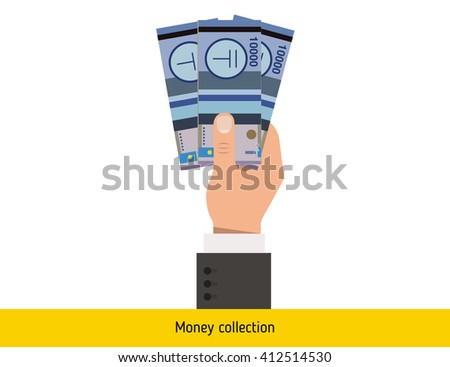 Three tenge in hand. Kazakhstani tenge banknote.  - stock vector