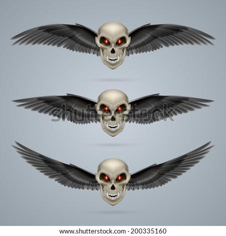 Three terrifying mutant skulls with black wings - stock vector