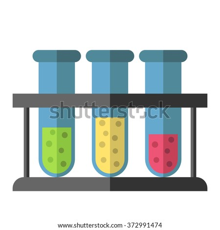 Three test tubes with green, yellow and red liquid in rack isolated on white. Science, education, chemistry, experiment concept. EPS 8 vector illustration, no transparency - stock vector