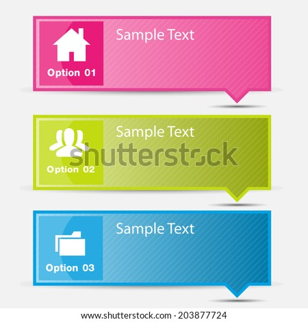 three text box for website, icon. - stock vector