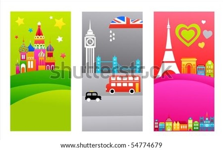 Three tourist backgrounds with European travel destinations - stock vector