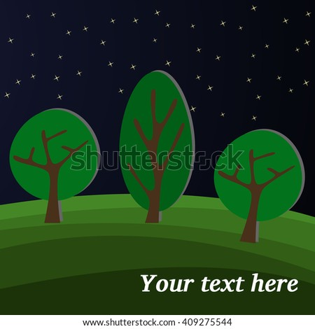 Three Trees. Edge of the Forest at Night. - stock vector