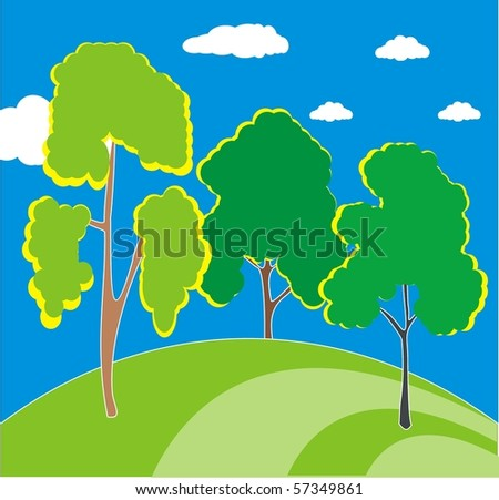 Three trees on green hill - vector image