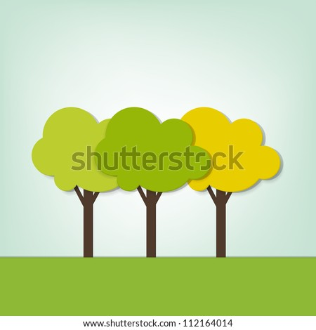 three trees on the field - stock vector