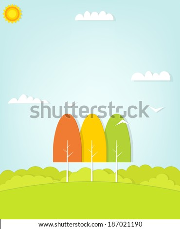 three trees on the field - stock vector