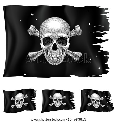 Three types of pirate flag. Illustration for design on white background