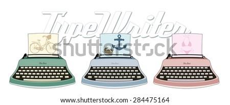 three typewriters - stock vector