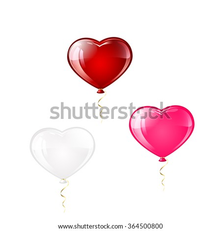 Three Valentines balloons in the form of hearts isolated on white background, illustration.